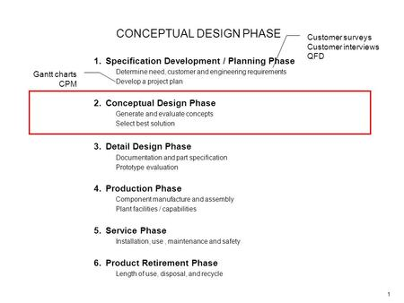 1 CONCEPTUAL DESIGN PHASE 1.Specification Development / Planning Phase Determine need, customer and engineering requirements Develop a project plan 2.Conceptual.