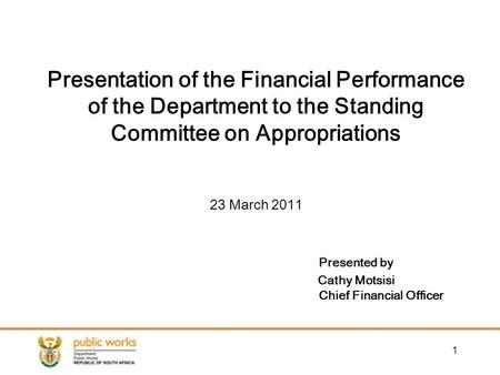 1 Presentation of the Financial Performance of the Department to the Standing Committee on Appropriations 23 March 2011 Presented by Cathy Motsisi Chief.