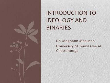 Dr. Meghann Meeusen University of Tennessee at Chattanooga INTRODUCTION TO IDEOLOGY AND BINARIES.