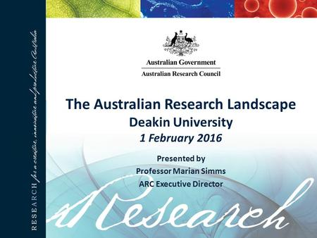 The Australian Research Landscape Deakin University 1 February 2016 Presented by Professor Marian Simms ARC Executive Director.