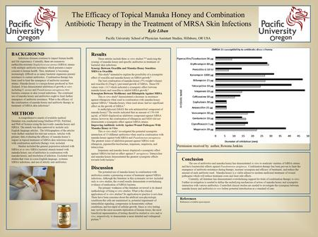 The Efficacy of Topical Manuka Honey and Combination Antibiotic Therapy in the Treatment of MRSA Skin Infections Kyle Liban Pacific University School of.