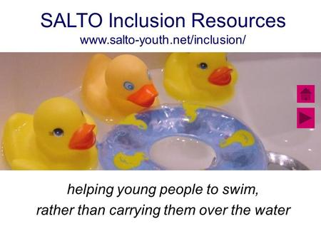 SALTO Inclusion Resources www.salto-youth.net/inclusion/ helping young people to swim, rather than carrying them over the water.