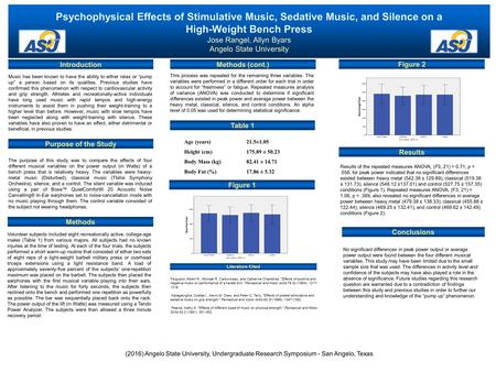 Psychophysical Effects of Stimulative Music, Sedative Music, and Silence on a High-Weight Bench Press Jose Rangel, Allyn Byars Angelo State University.