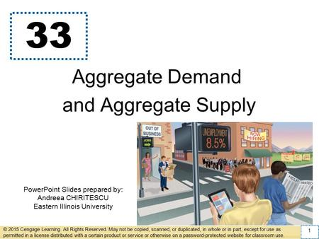 PowerPoint Slides prepared by: Andreea CHIRITESCU Eastern Illinois University 33 Aggregate Demand and Aggregate Supply © 2015 Cengage Learning. All Rights.