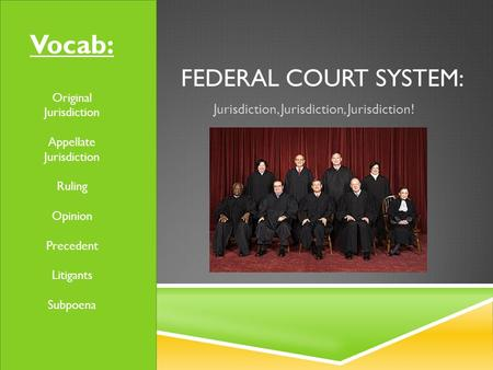 FEDERAL COURT SYSTEM: Jurisdiction, Jurisdiction, Jurisdiction! Vocab: Original Jurisdiction Appellate Jurisdiction Ruling Opinion Precedent Litigants.