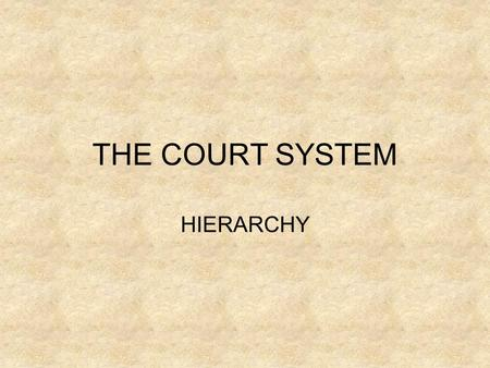 THE COURT SYSTEM HIERARCHY. Structure HIGH COURT SUPREME COURT FEDERAL COURT DISTRICT COURT MAGISTRATE'S COURT FEDERAL MAGISTRATE'S COURT STATE JURISDICTION.