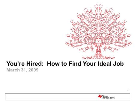 1 You're Hired: How to Find Your Ideal Job March 31, 2009.
