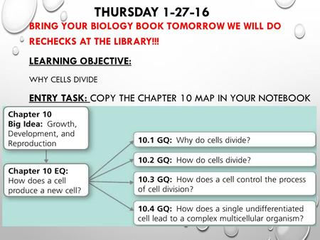THURSDAY 1-27-16 BRING YOUR BIOLOGY BOOK TOMORROW WE WILL DO RECHECKS AT THE LIBRARY!!! LEARNING OBJECTIVE: WHY CELLS DIVIDE ENTRY TASK: COPY THE CHAPTER.