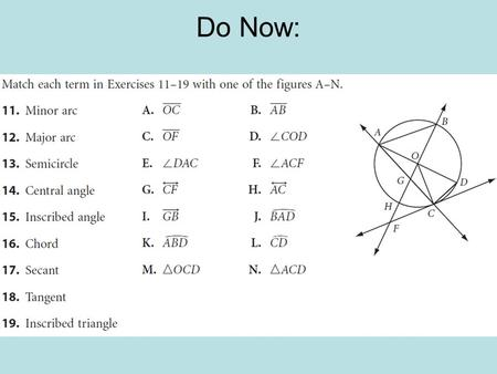 Do Now:. Circumference What is circumference? Circumference is the distance around a circle.
