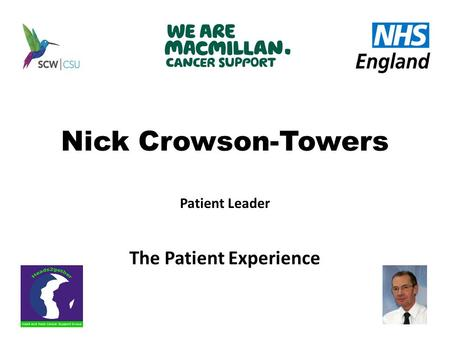 Nick Crowson-Towers Patient Leader The Patient Experience.