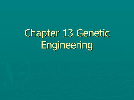 Chapter 13 Genetic Engineering. 13-1 Changing the Living World Humans use selective breeding, which takes advantage of naturally occurring genetic variation.