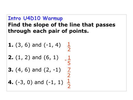 Intro U4D10 Warmup Find the slope of the line that passes through each pair of points. 1. (3, 6) and (-1, 4) 2. (1, 2) and (6, 1) 3. (4, 6) and (2, -1)