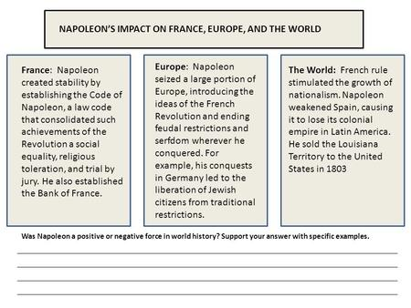 NAPOLEON'S IMPACT ON FRANCE, EUROPE, AND THE WORLD France: Napoleon created stability by establishing the Code of Napoleon, a law code that consolidated.