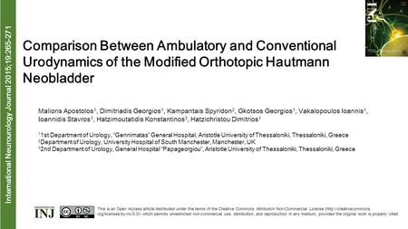 International Neurourology Journal 2015;19:265-271 Comparison Between Ambulatory and Conventional Urodynamics of the Modified Orthotopic Hautmann Neobladder.