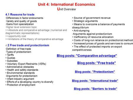 Unit 4: International Economics U nit Overview 4.1 Reasons for trade · Differences in factor endowments ·Variety and quality of goods ·Gains from specialization.