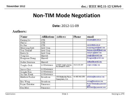 Submission doc.: IEEE 802.11-12/1309r0 November 2012 Non-TIM Mode Negotiation Date: 2012-11-09 Slide 1 Authors: Kaiying Lv, ZTE.
