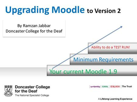 Your current Moodle 1.9 Minimum Requirements Ability to do a TEST RUN! Upgrading Moodle to Version 2 By Ramzan Jabbar Doncaster College for the Deaf By.