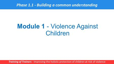 Module 1 - Violence Against Children Training of Trainers - Improving the holistic protection of children at risk of violence 1 Phase 1.1 - Building a.