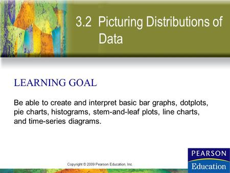 Copyright © 2009 Pearson Education, Inc. 3.2 Picturing Distributions of Data LEARNING GOAL Be able to create and interpret basic bar graphs, dotplots,