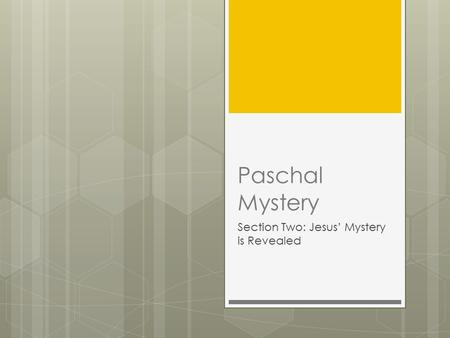 Paschal Mystery Section Two: Jesus' Mystery is Revealed.