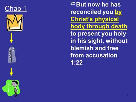 1 Chap 1 22 But now he has reconciled you by Christ's physical body through death to present you holy in his sight, without blemish and free from accusation.
