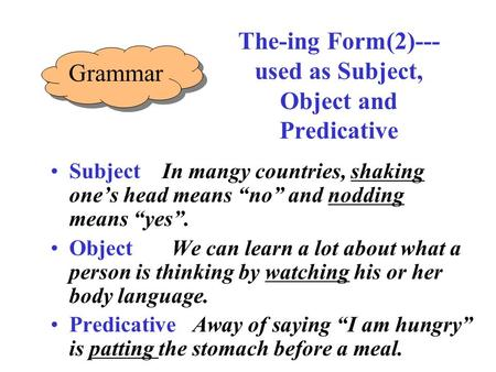 "The-ing Form(2)--- used as Subject, Object and Predicative Subject In mangy countries, shaking one's head means ""no"" and nodding means ""yes"". Object We."