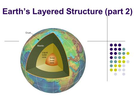 Earth's Layered Structure (part 2). The Earth's Interior We last discussed these points: How we know about the interior of the Earth… How Earth's interior.