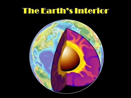 The Earth's Interior. Below the Earth's surface is the interior. Think of it as a hard boiled egg. If you tear open the egg you will see layers. Crust.