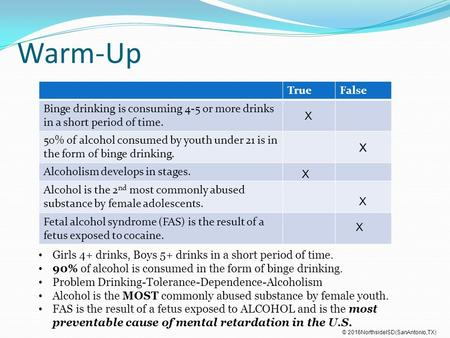 Warm-Up TrueFalse Binge drinking is consuming 4-5 or more drinks in a short period of time. 50% of alcohol consumed by youth under 21 is in the form of.