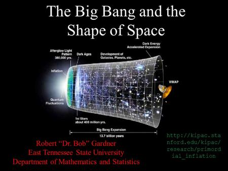 "The Big Bang and the Shape of Space Robert ""Dr. Bob"" Gardner East Tennessee State University Department of Mathematics and Statistics"