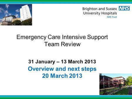 Emergency Care Intensive Support Team Review 31 January – 13 March 2013 Overview and next steps 20 March 2013.