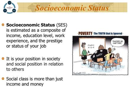 Socioeconomic Status Socioeconomic Status (SES) is estimated as a composite of income, education level, work experience, and the prestige or status of.