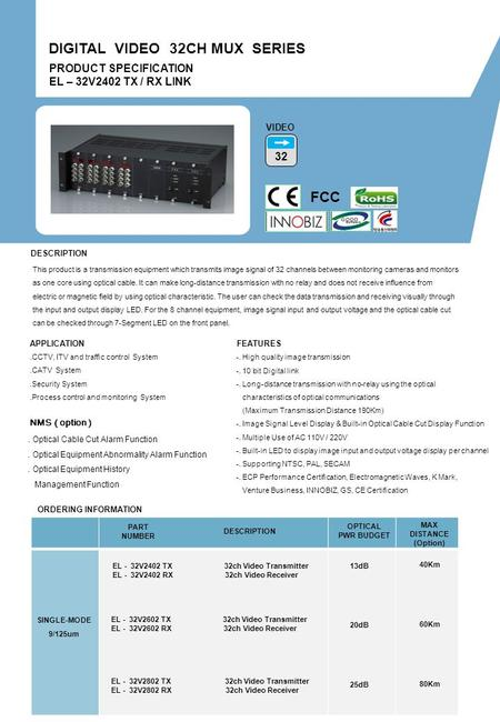 ORDERING INFORMATION PART NUMBER DESCRIPTION OPTICAL PWR BUDGET MAX DISTANCE (Option) PRODUCT SPECIFICATION EL – 32V2402 TX / RX LINK DIGITAL VIDEO 32CH.