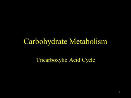 1 Carbohydrate Metabolism Tricarboxylic Acid Cycle.
