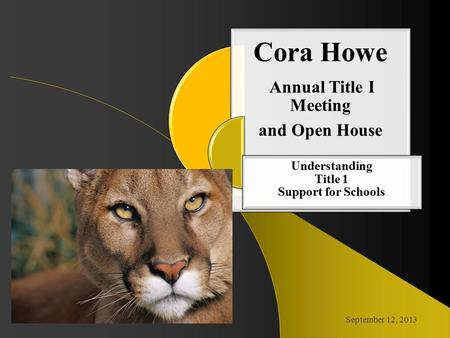 Cora Howe Annual Title I Meeting and Open House Understanding Title 1 Support for Schools September 12, 2013.