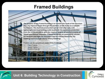 Unit 6: Building Technology in Construction Plane Frames Space Frames Skeleton Frames Framed Buildings.