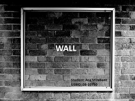 WALL Student: Ana Mirabent USBID: 08-10750. DEFINITION Solid structure that defines and sometimes protects an area. Most commonly, a wall delineates a.