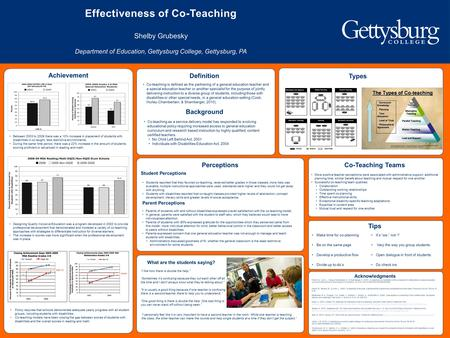 Effectiveness of Co-Teaching Shelby Grubesky Department of Education, Gettysburg College, Gettysburg, PA Co-teaching is defined as the partnering of a.