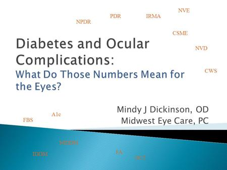 Mindy J Dickinson, OD Midwest Eye Care, PC NPDR PDR CSME A1c NVE FBS IDDM NIDDM NVD IRMA CWS FA OCT.