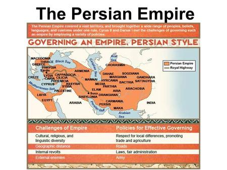 The Persian Empire. Cyrus the Great 580 – 529 B. C. E.  A tolerant ruler  he allowed different cultures within his empire to keep their own institutions.