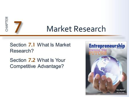 CHAPTER Section 7.1 What Is Market Research? Section 7.2 What Is Your Competitive Advantage? Market Research.