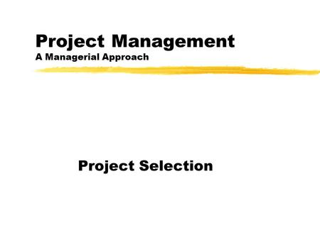 Project Management A Managerial Approach Project Selection.