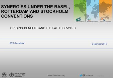 6/12/2016 1 ORIGINS, BENEFITS AND THE PATH FORWARD BRS Secretariat December 2015 SYNERGIES UNDER THE BASEL, ROTTERDAM AND STOCKHOLM.