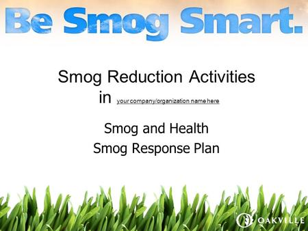 Smog Reduction Activities in your company/organization name here Smog and Health Smog Response Plan.