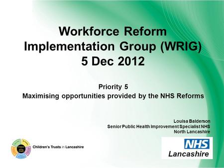 Workforce Reform Implementation Group (WRIG) 5 Dec 2012 Priority 5 Maximising opportunities provided by the NHS Reforms Louisa Balderson Senior Public.
