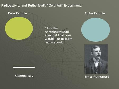 "Radioactivity and Rutherford's ""Gold Foil"" Experiment. Alpha ParticleBeta Particle Gamma Ray Click the particle/ray/odd scientist that you would like to."
