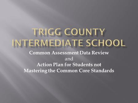 Common Assessment Data Review and Action Plan for Students not Mastering the Common Core Standards.