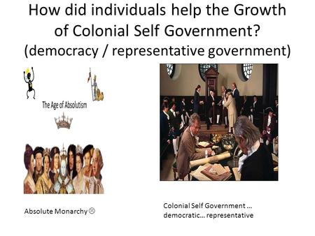 How did individuals help the Growth of Colonial Self Government