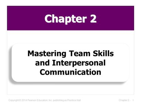 Chapter 2 Mastering Team Skills and Interpersonal Communication Mastering Team Skills and Interpersonal Communication 1Chapter 2 -Copyright © 2014 Pearson.