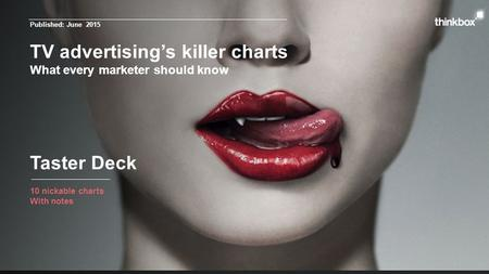 TV advertising's killer charts What every marketer should know 10 nickable charts With notes Taster Deck Published: June 2015.